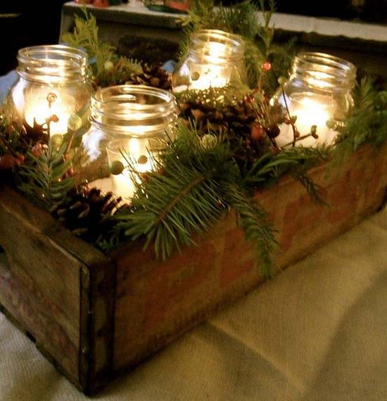 antique boxes and rustic decors christmas table decorations 7 - Rustic Christmas Table Decorations