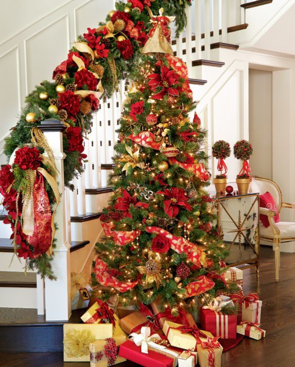 19 red tree by the side - Red Christmas Tree Decorating Ideas