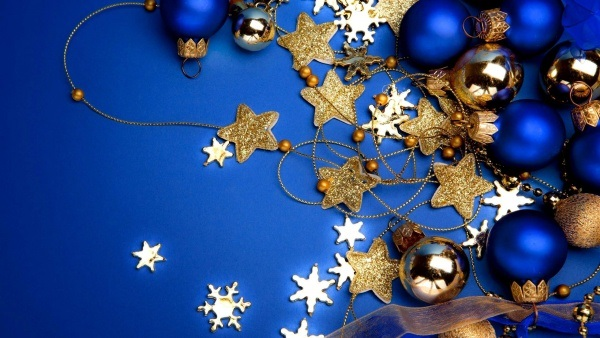 source the blue backdrop decorated - Blue And Gold Christmas Decorations