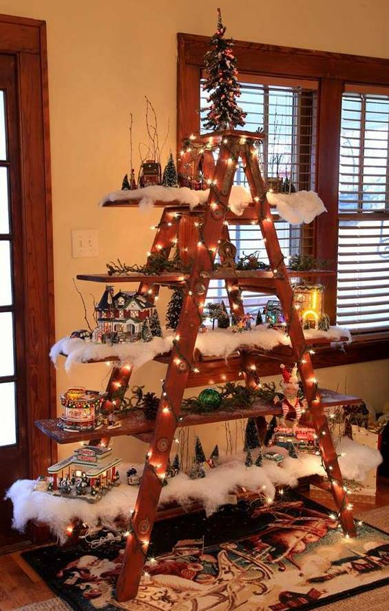 christmas tree decorating idea ladder display shelf - Christmas Shelf Decorations