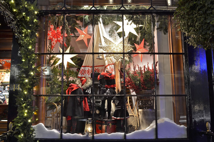 a christmas decorated window