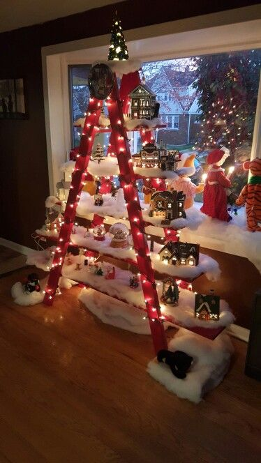 red chrsitmas ladder - Christmas Tree Ladder Decoration