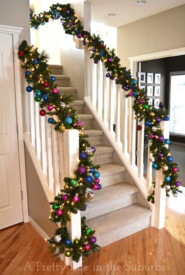 40 festive christmas banister decorations ideas all for Stair railing decorated for christmas