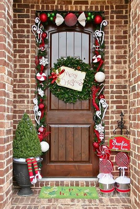 christmas front door decorations 27 - Front Door Entrance Christmas Decoration