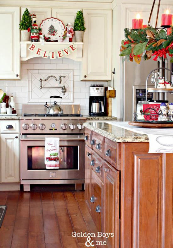 30+ Stunning Christmas Kitchen Decorating Ideas – All About ... on remodeling ideas for kitchen, christmas decorations above kitchen cabinets, christmas decor for kitchen, design ideas for kitchen, organizing ideas for kitchen, christmas centerpieces for kitchen, christmas kitchen decor idea, color ideas for kitchen, home ideas for kitchen, christmas crafts for kitchen, christmas lights for kitchen, diy for kitchen, storage ideas for kitchen, paint ideas for kitchen, italy ideas for kitchen, lighting ideas for kitchen, sewing ideas for kitchen, painting ideas for kitchen, vintage ideas for kitchen, christmas rugs for kitchen,