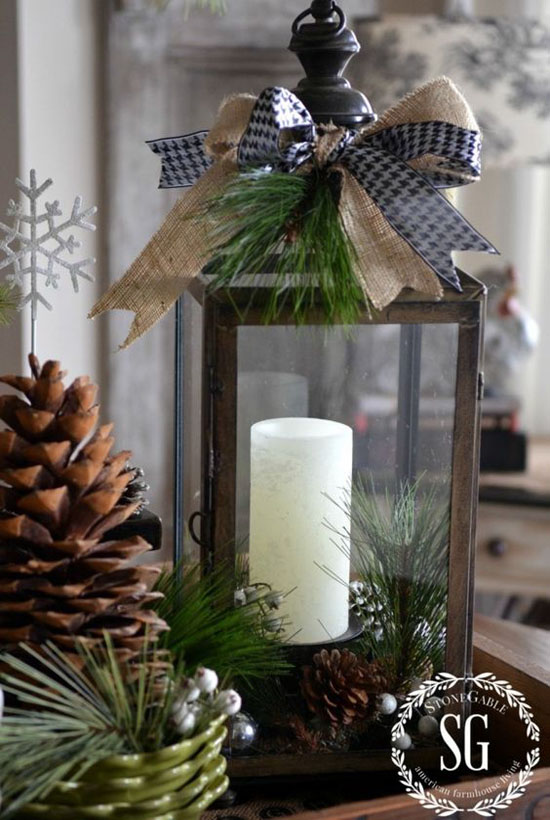 Silver Lantern Christmas Decor