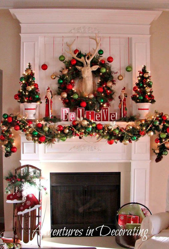 40 wonderful christmas mantel decorations ideas all for Christmas mantel design ideas
