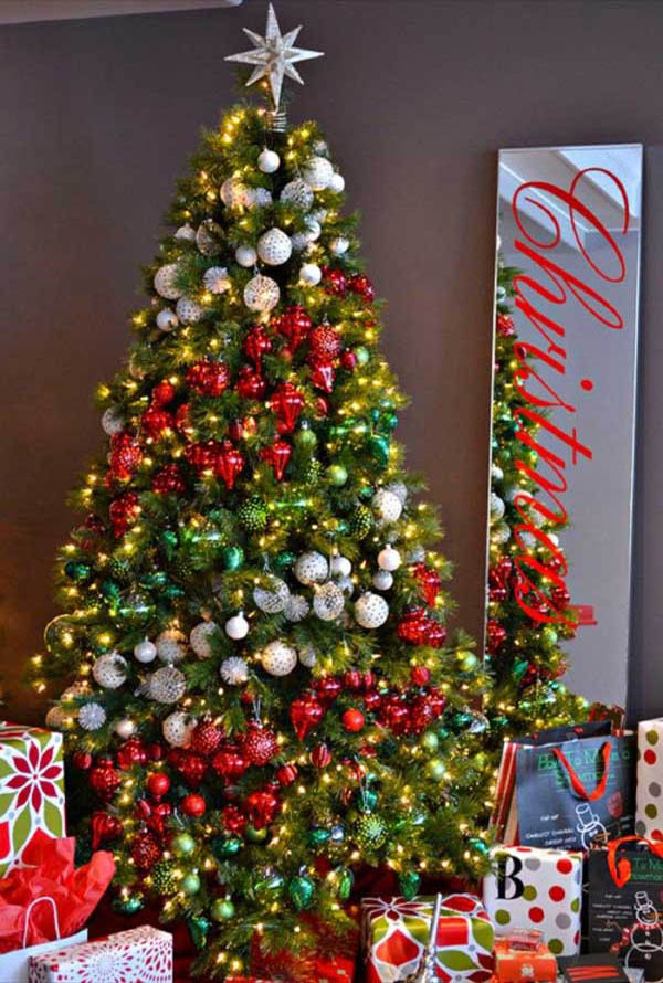silver and red christmas tree christmas tree decorating ideas 34