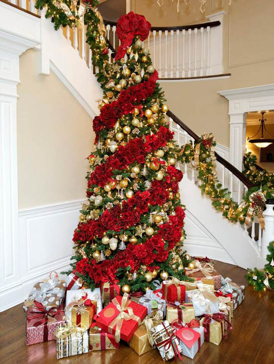 christmas tree decorating ideas 6 - Red And Gold Christmas Tree Decoration Ideas