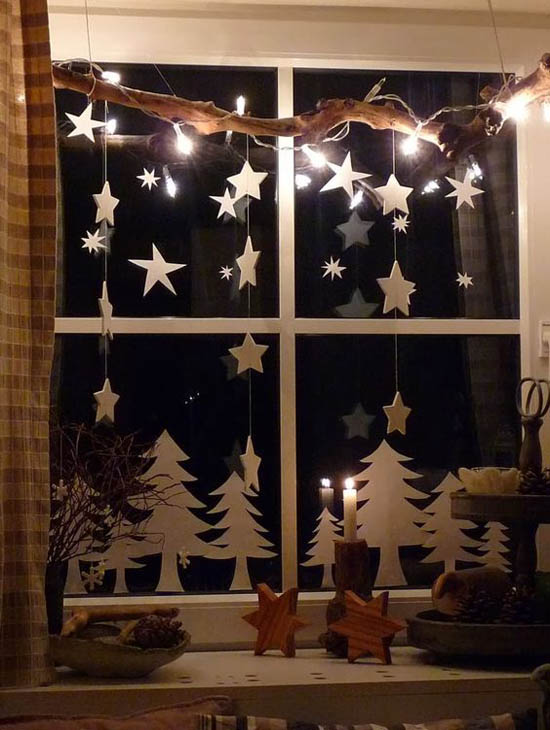40 stunning christmas window decorations ideas all - Christmas Window Sill Decorations Ideas