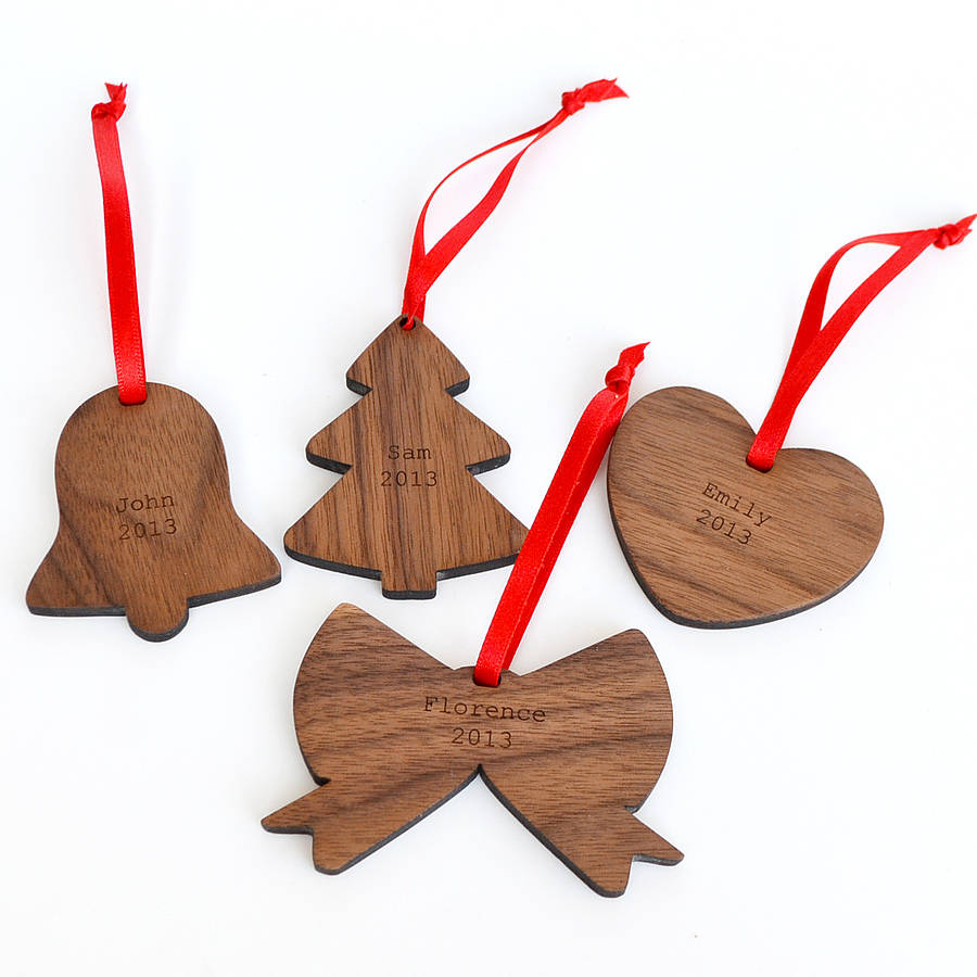 1 source names etched on wooden plates cut into christmas ornament