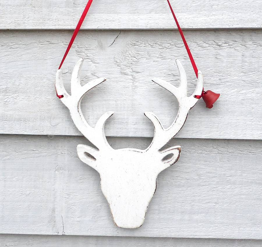 2 white deer - White Deer Christmas Decoration