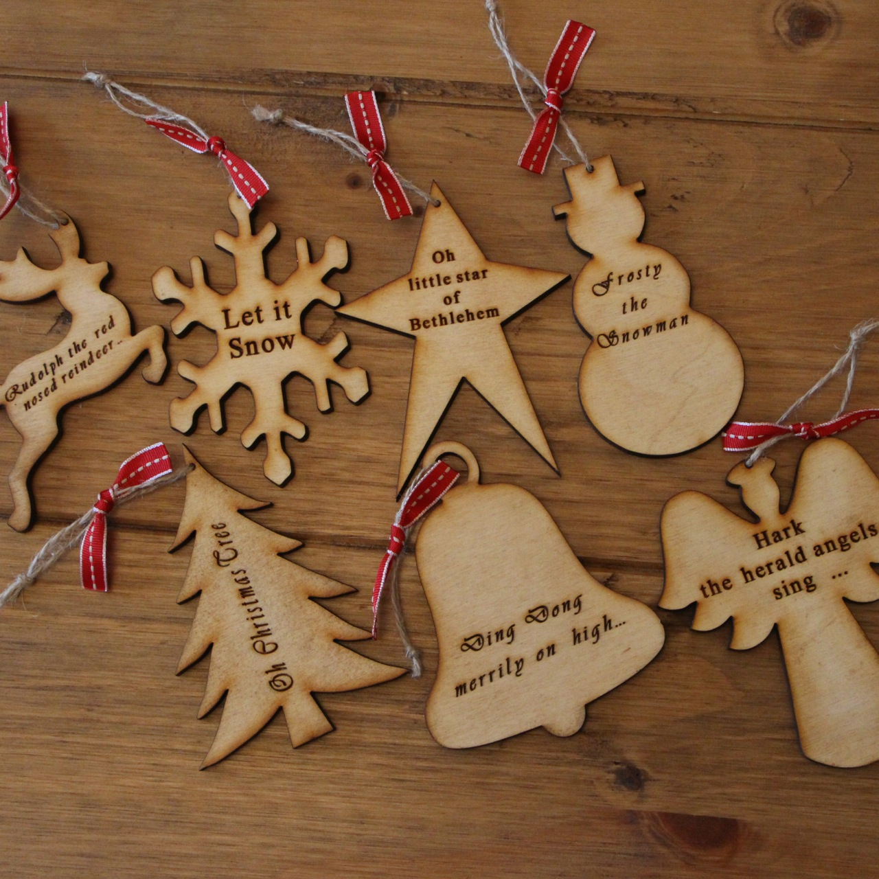 5 - Wooden Christmas Tree Decorations