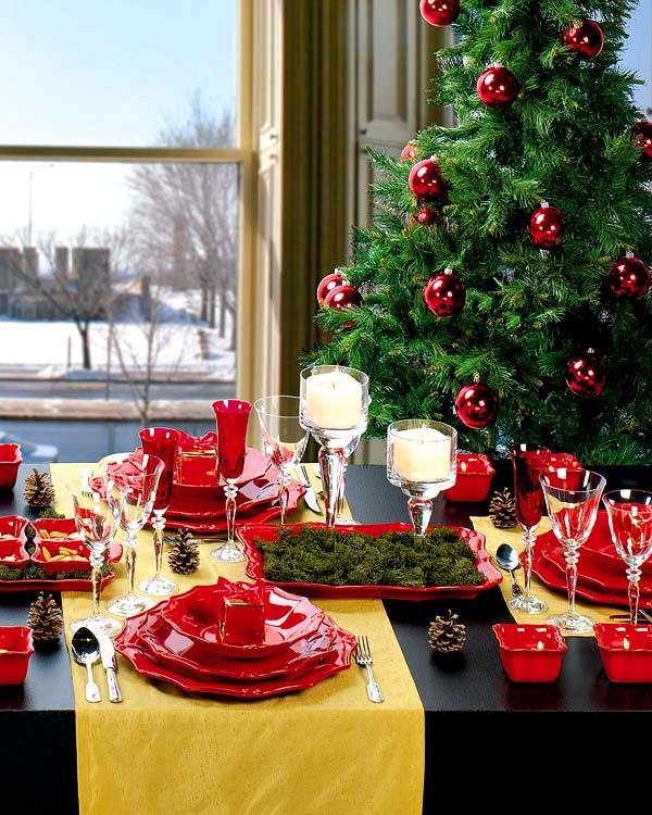 christmas table decorating with christmas tree - Christmas Table Decorating