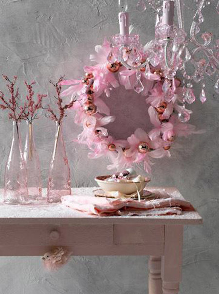 pink christmas decorations 1