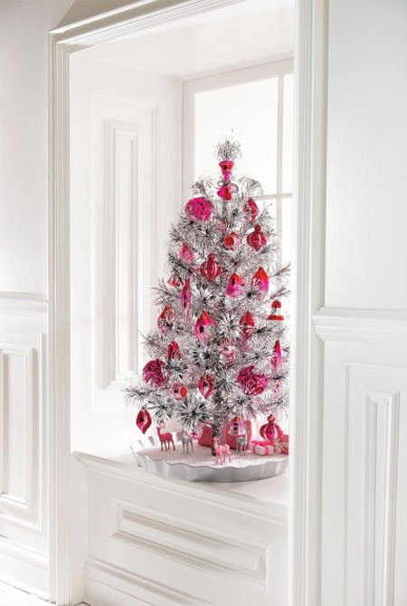 pink and silver christmas tree - Red And Silver Christmas Decorations