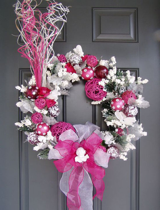 create your own christmas colors with this funky festive wreath pink and white acorns and flowers will be the perfect flare to your holiday - Pink Christmas Decorations