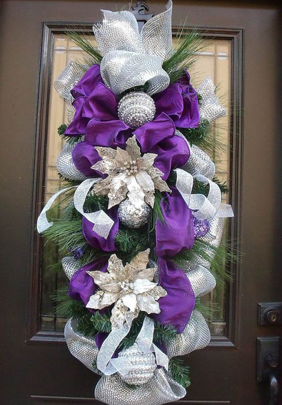 purple and silver christmas teardrop wreath