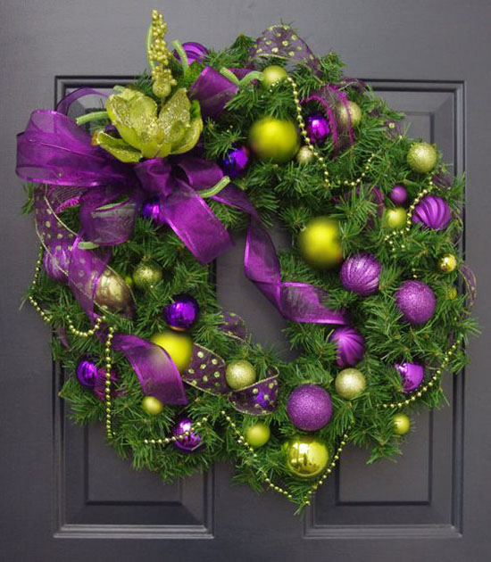 christmas wreath in purple and lime green