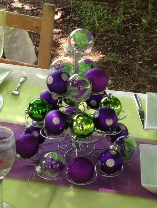 purple and green christmas centrepiece