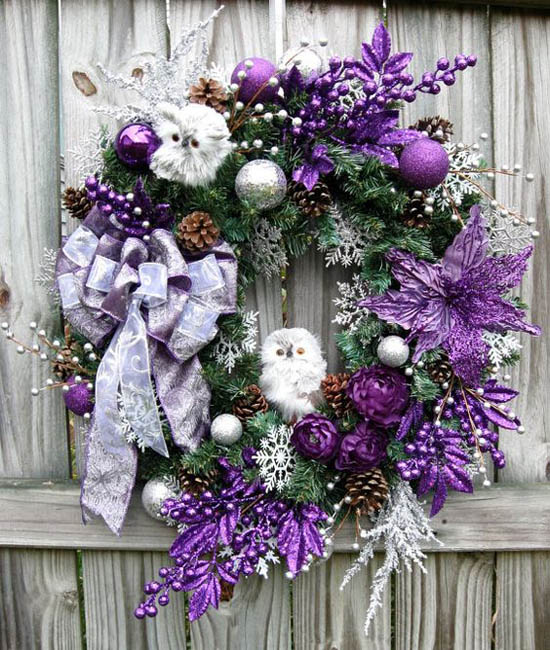 purple and silver baby owls christmas wreath