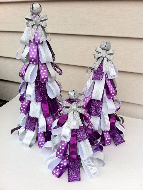 purple mini christmas trees - Purple And Silver Christmas Tree Decorations