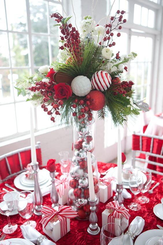 40 red and white christmas decorating ideas all about White christmas centerpieces