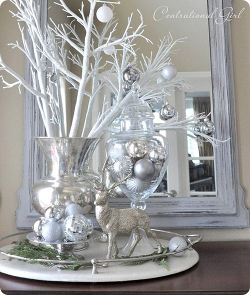 silver christmas decorations 1 - Silver Christmas Tree Decorating Ideas