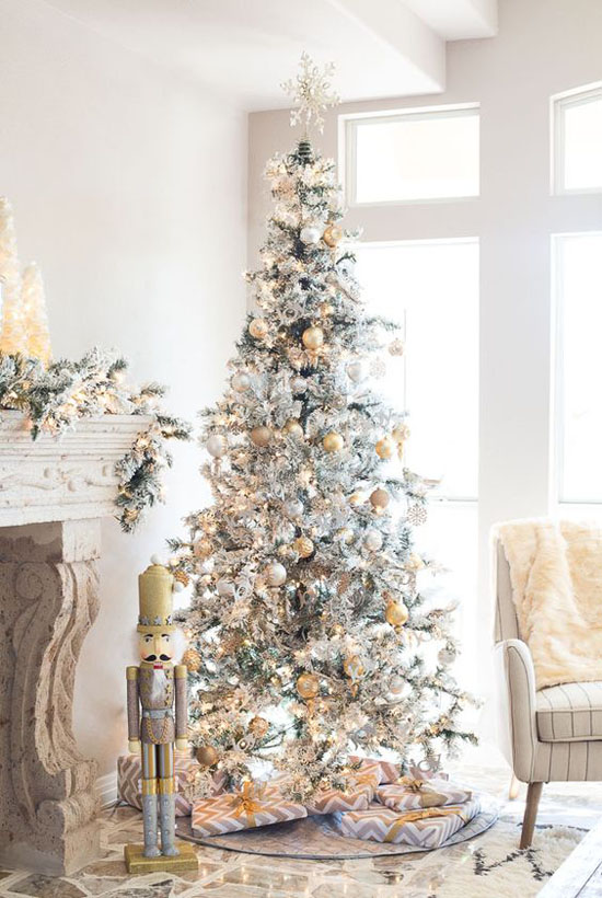 bright silver and gold christmas tree