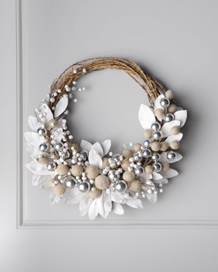 silver and white flower wreath silver christmas decorations 35