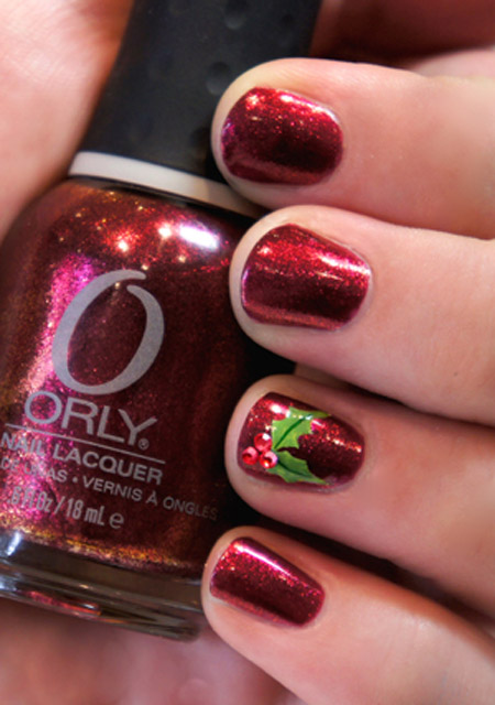 Simple christmas nail art designs all about christmas you can never go wrong with deep red with a pop of green start with a deep red background and accent with a simple green holly leaf prinsesfo Gallery