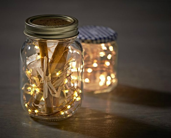 40 christmas light decorations in a jar all about christmas. Black Bedroom Furniture Sets. Home Design Ideas