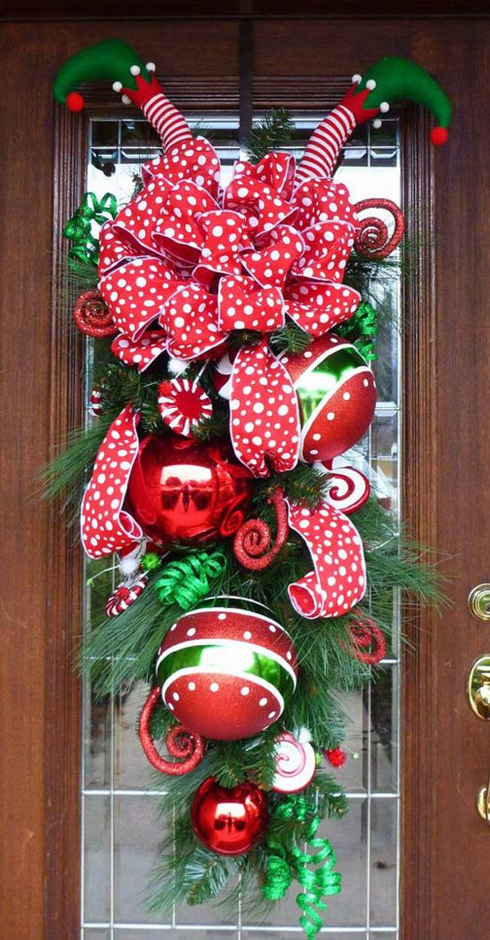 elf legs christmas wreath christmas door decorations pinterest 4 - Elf Legs Christmas Decoration