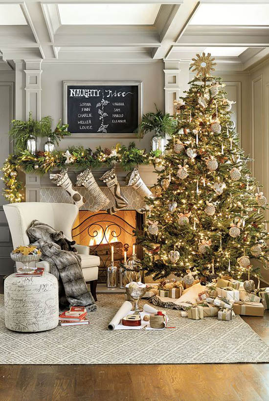 christmas tree pinterest 1 - Gold Christmas Tree Decorating Ideas