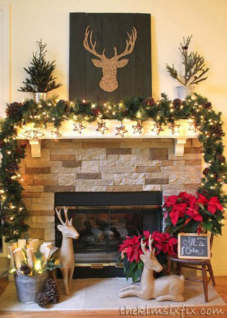 45 most pinteresting rustic christmas decorating ideas for How to decorate a fireplace for christmas