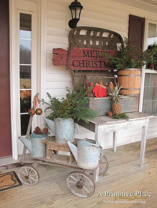 country style christmas porch rustic christmas decorations pinterest 36 - Country Style Christmas Decorations