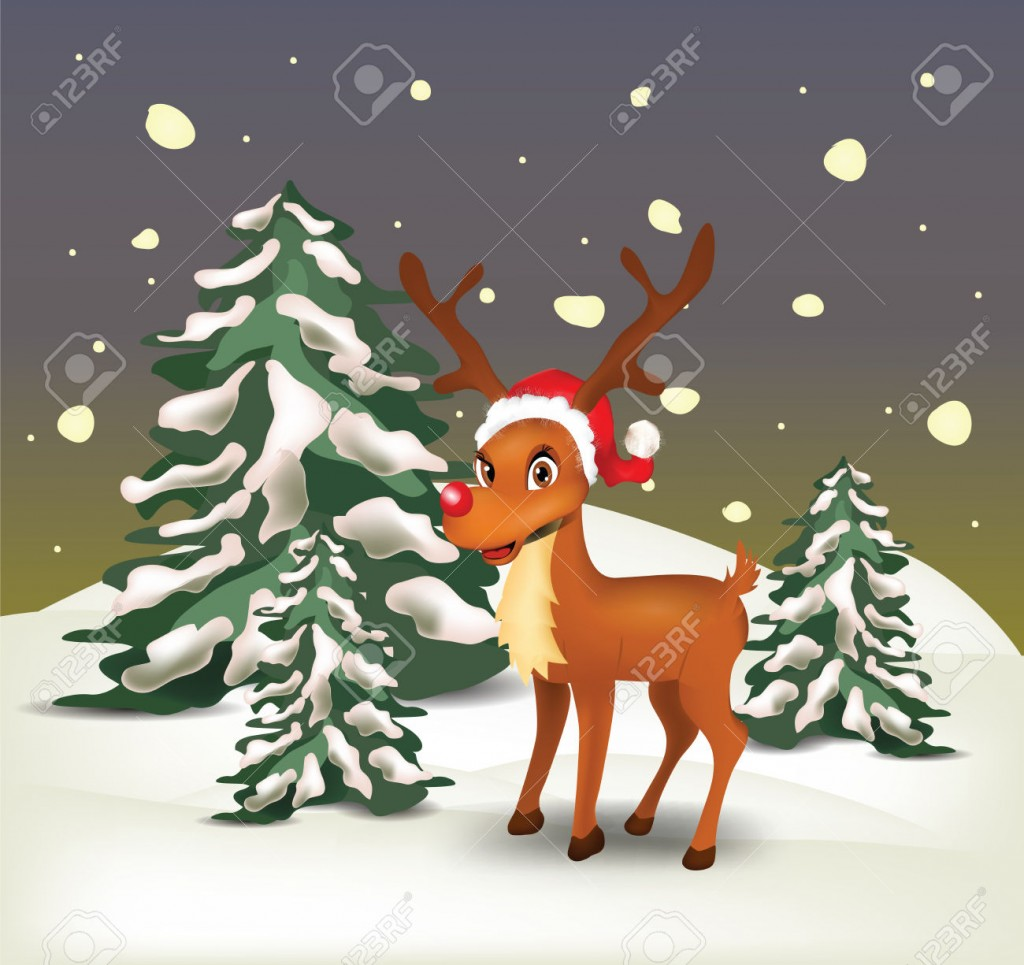 Reindeer in snowy landscape at night . Clip-art, Illustration.
