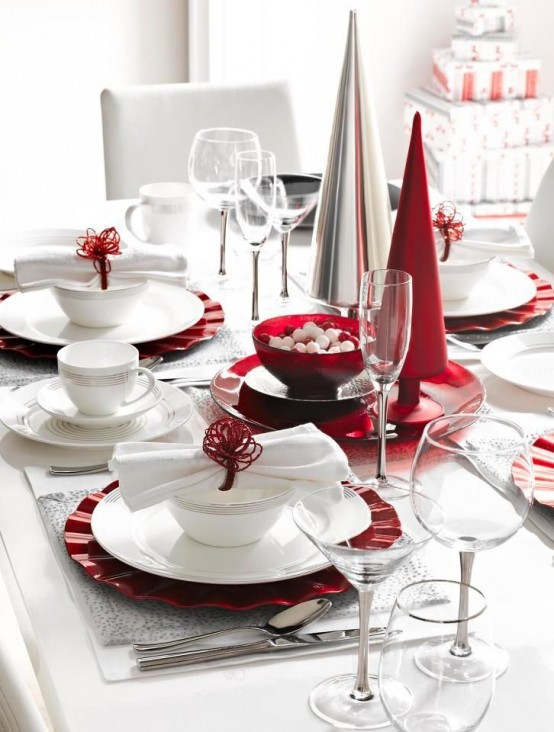 40 Rustic Christmas Tableware Decoration Ideas All About Christmas · Holiday Table Setting ... & Enchanting Red And White Christmas Table Setting Ideas Pictures ...