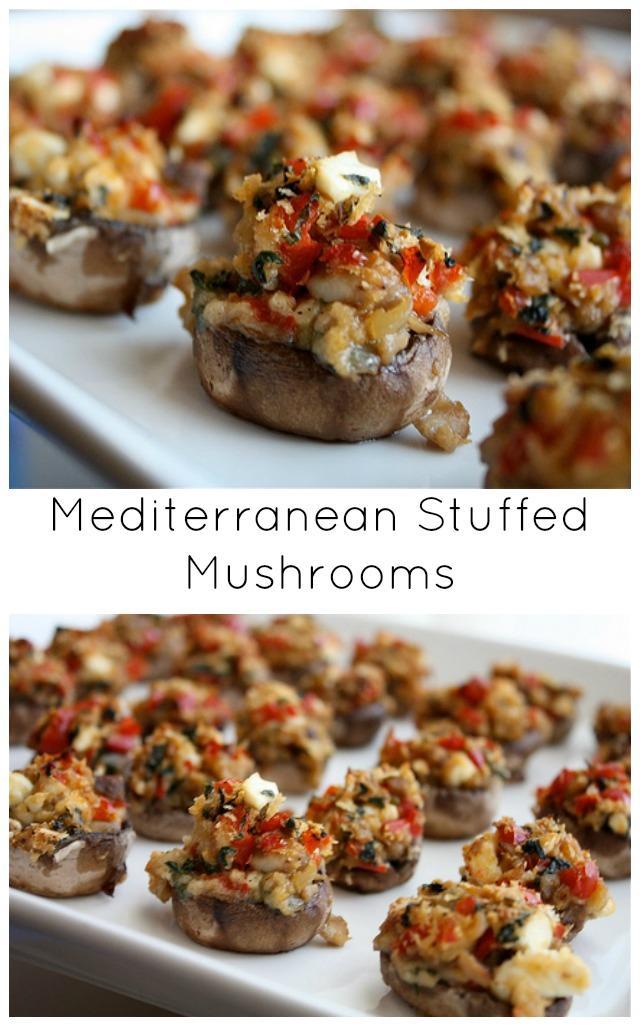 mediterranean-stuffed-mushrooms